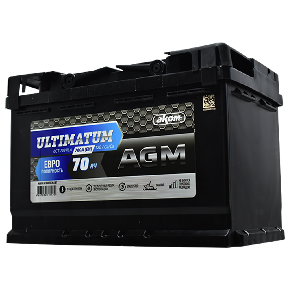 ULTIMATUM 70Ah D+ AGM start-stop