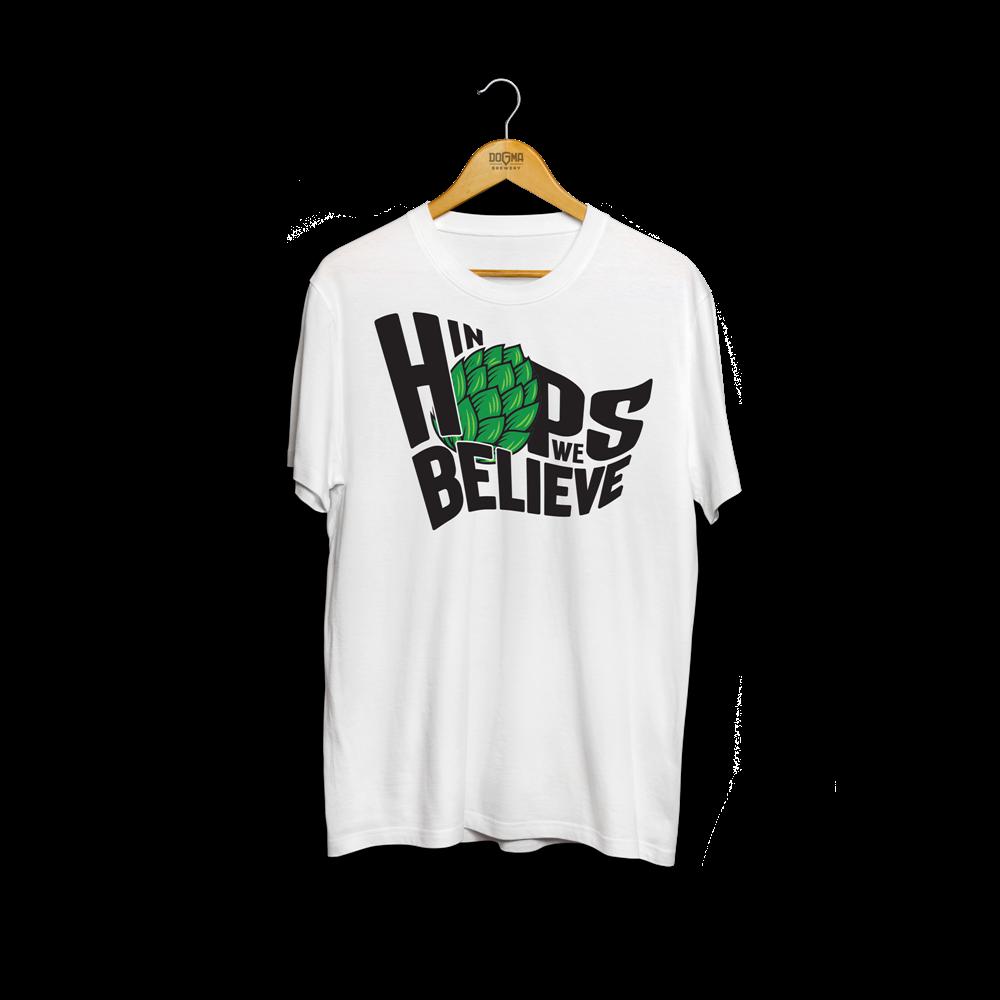 Majica IN HOPS WE BELIEVE - bela