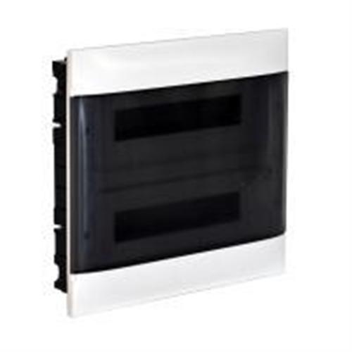 Practibox S: Stanska ugradna tabla, pod malter, 2x12M, providna dim vrata
