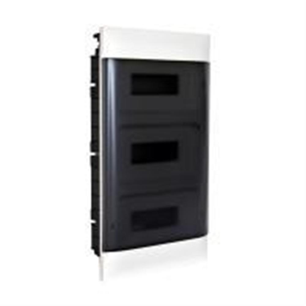Practibox S: Stanska ugradna tabla, pod malter, 3x12M, providna dim vrata