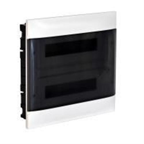 Practibox S: Stanska ugradna tabla, pod malter, 2x18M, providna dim vrata