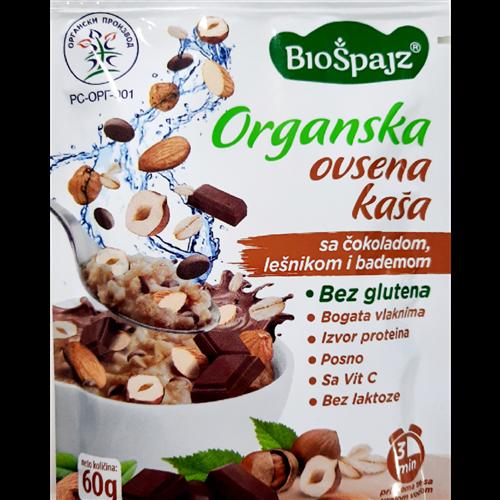 Ovsena kaša čokolada, lešnik, badem organic 60 gr