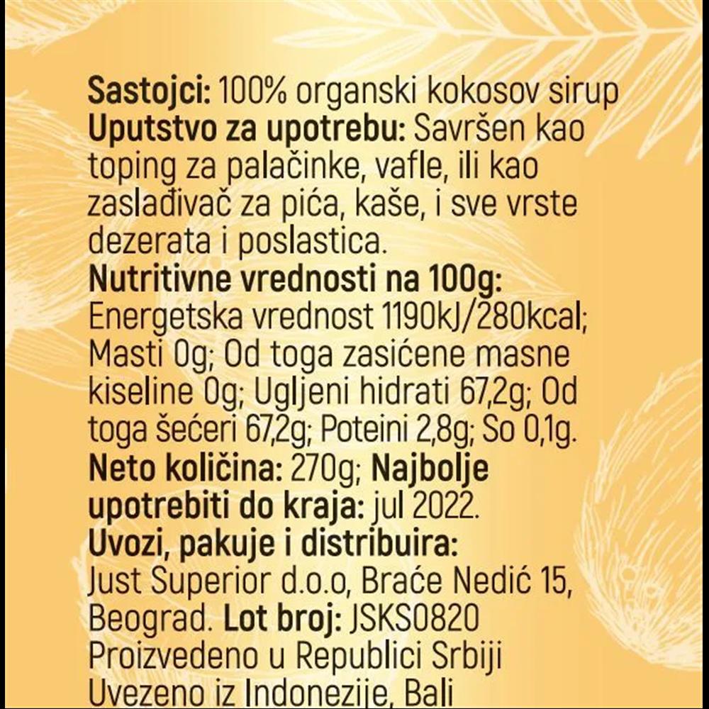 Kokosov sirup Just Superior 270 gr