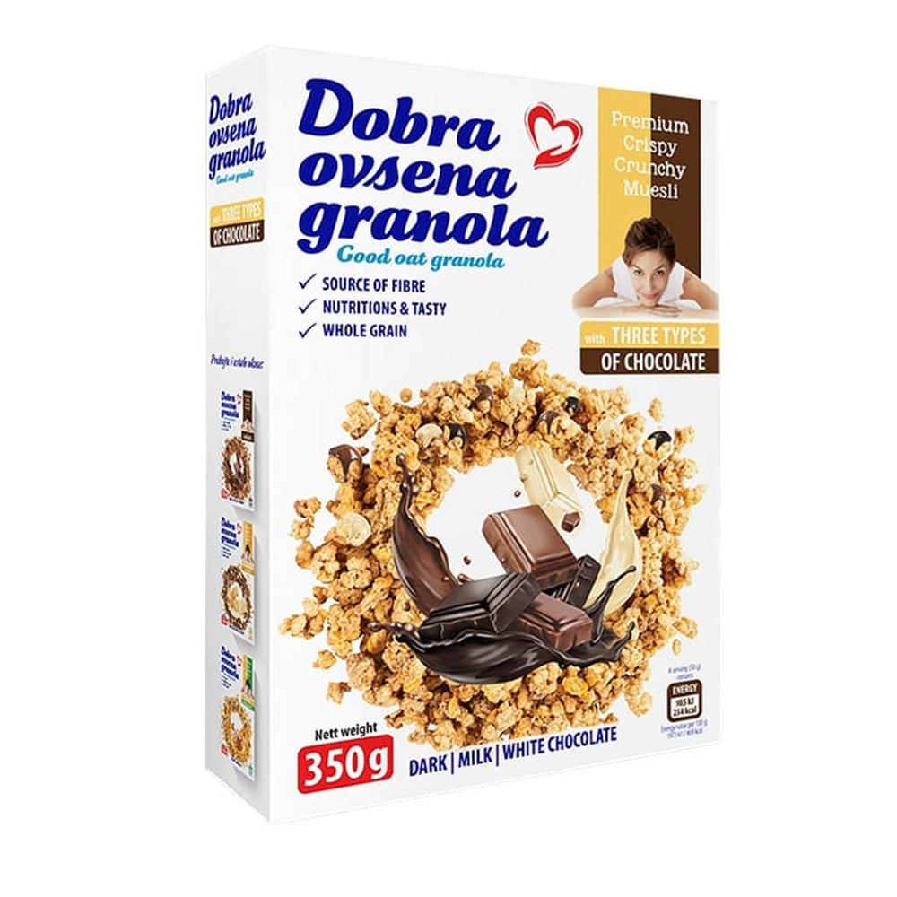 Dobra ovsena granola 3 vrste čokolade 350 gr