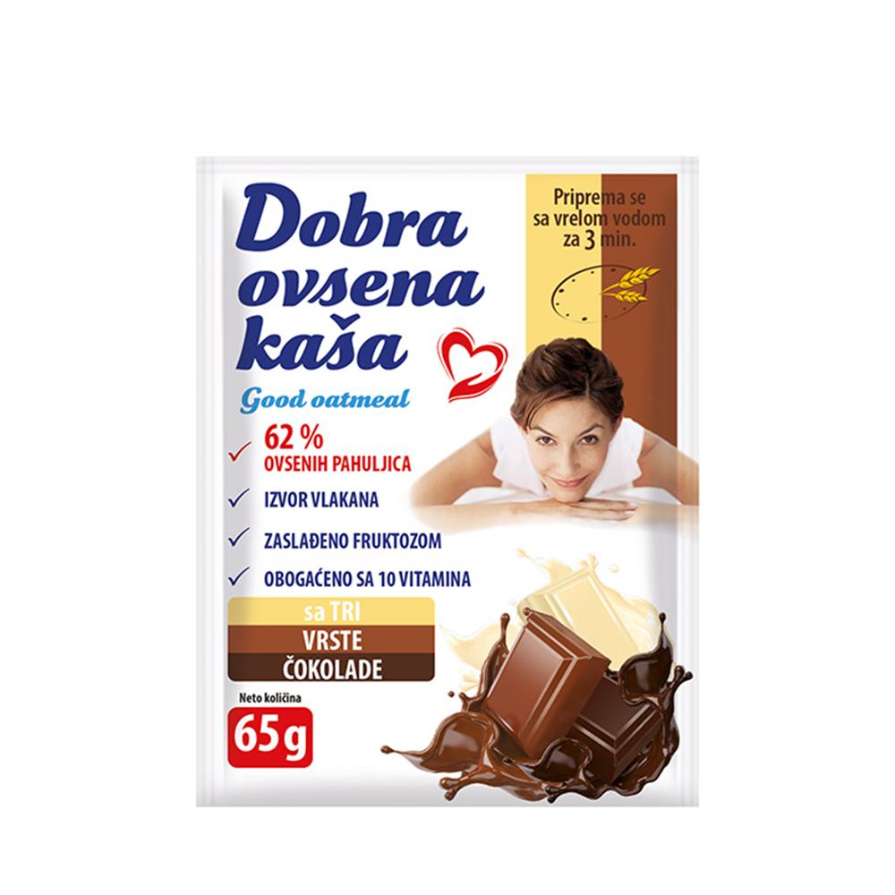 Dobra ovsena kaša 3 vrste čokolade 65 gr
