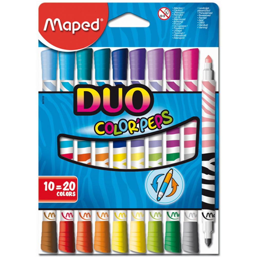 Flomasteri 10 MAPED duo color peps