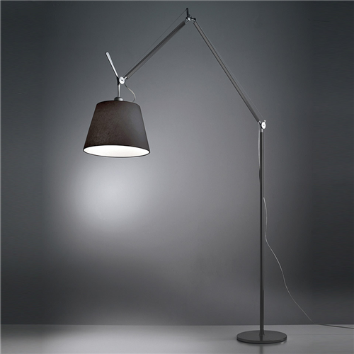 TOLOMEO MEGA LED FLOOR BLACK WITH BLACK SATIN DIFFUSER o 420mm - podna svetiljka