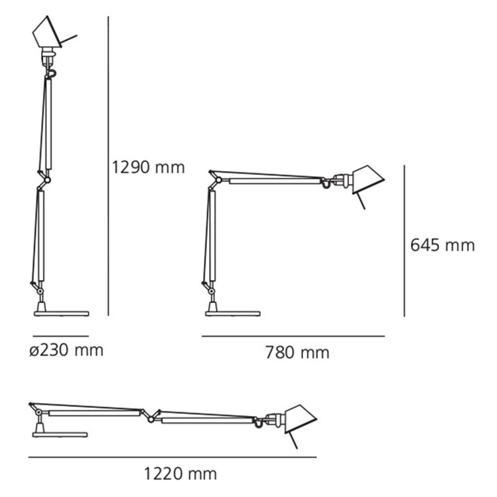 TOLOMEO TABLE METAL GREY - stona svetiljka