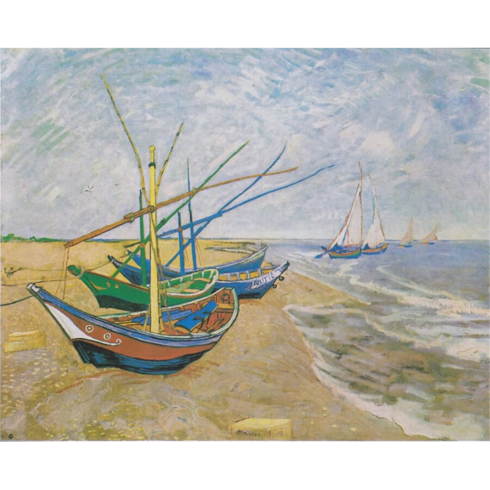 Van Gogh  - Fishing Boats on the Beach