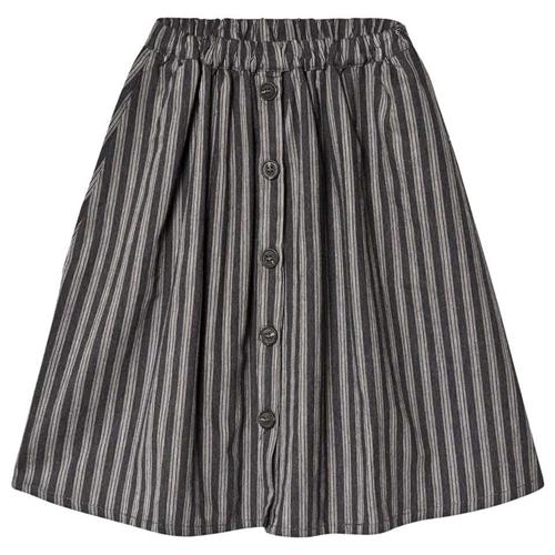 Jesenja suknja za devojčice siva sa svetlo sivim prugicama