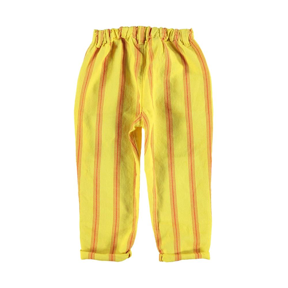 Pantalone unisex za proleće i leto žute boje sa crvenim prugicama