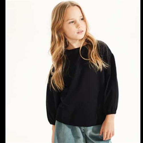 Crna majica za devojčice od pamučnog žerseja sa puf rukavima-POSLEDNJI KOMAD