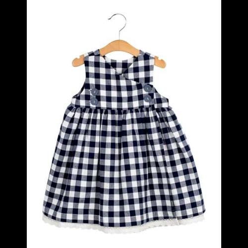 Haljina za devojčice na plavo bele kockice