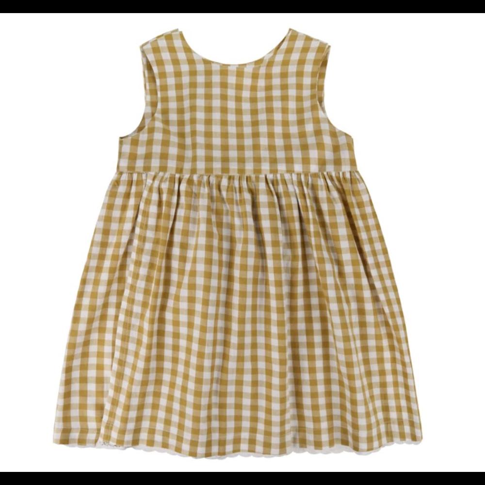 Haljina za devojčice na žuto bele kockice