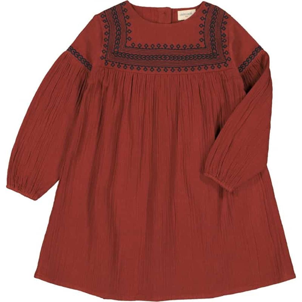 Bordo haljina za devojčice, boho šik, sa vezom