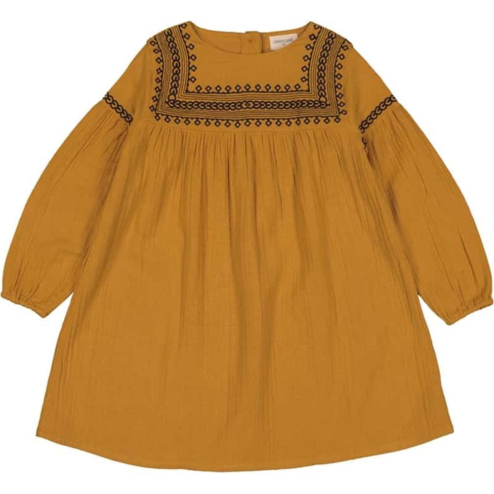 Braon svetla boja/haljina za devojčice, boho šik, sa vezom