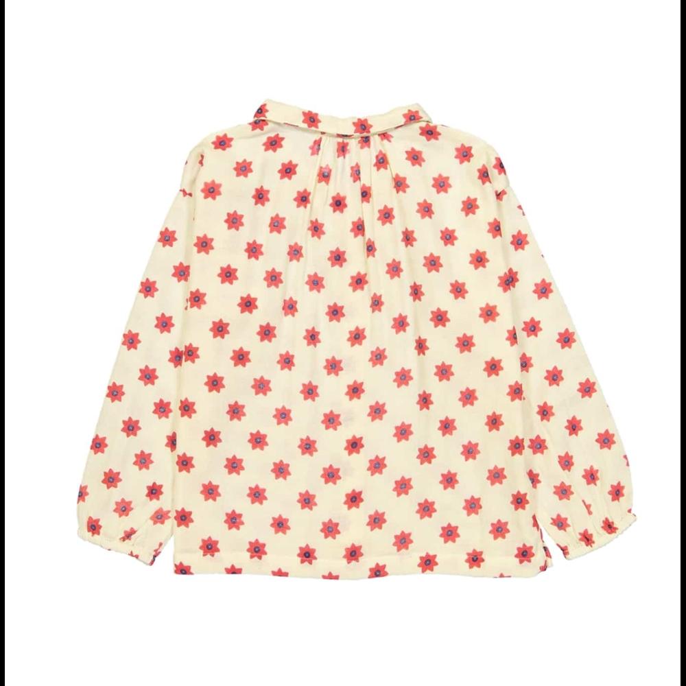 Košuljica nežno bele boje sa crvenim cvetovima za devojčice