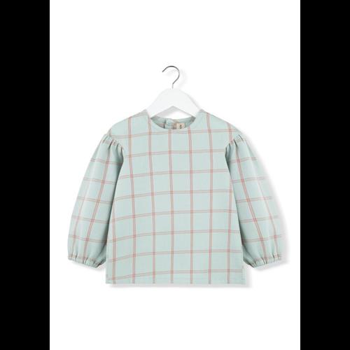 Bluza pamučna mint karirana  za puf rukavima