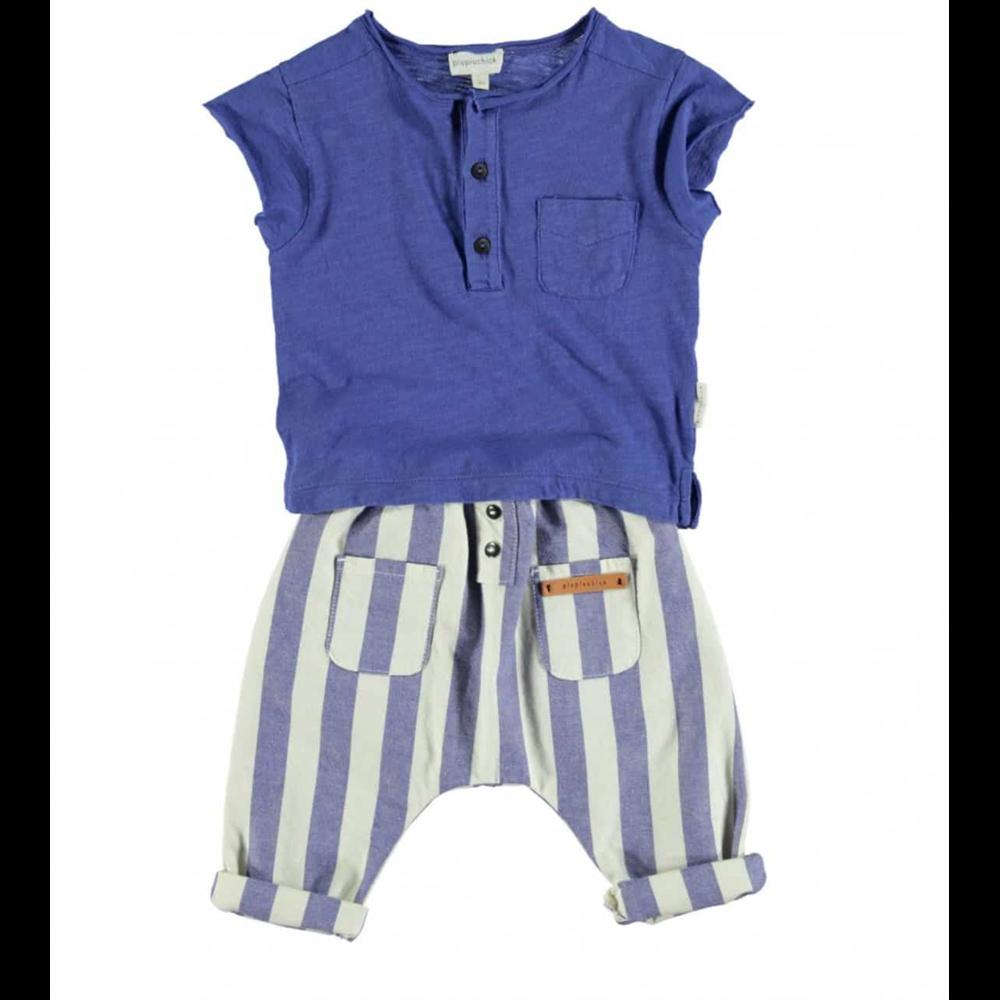 Pantalone za malu decu na plavo bele pruge od pamučnog kepera unisex