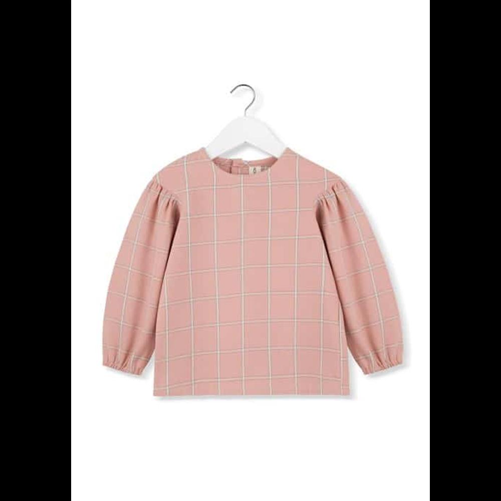 Bluza karirana koralne boje za puf  dugim rukavima