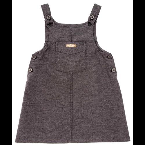 Siva haljina na tregere sa džepom na grudima