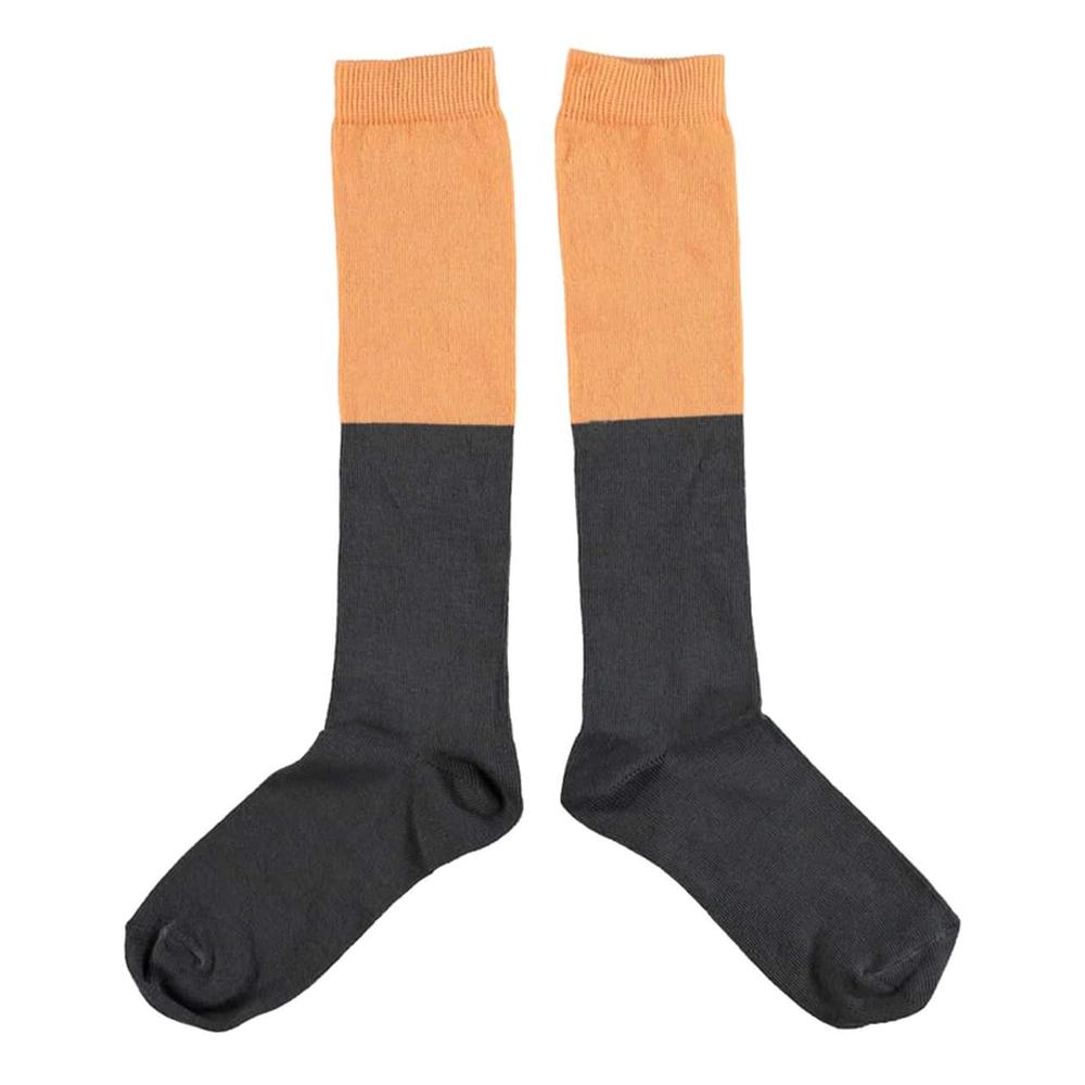 Izuzetne dokolenice za devojčice sive boje sa narandžastim gornjim delom