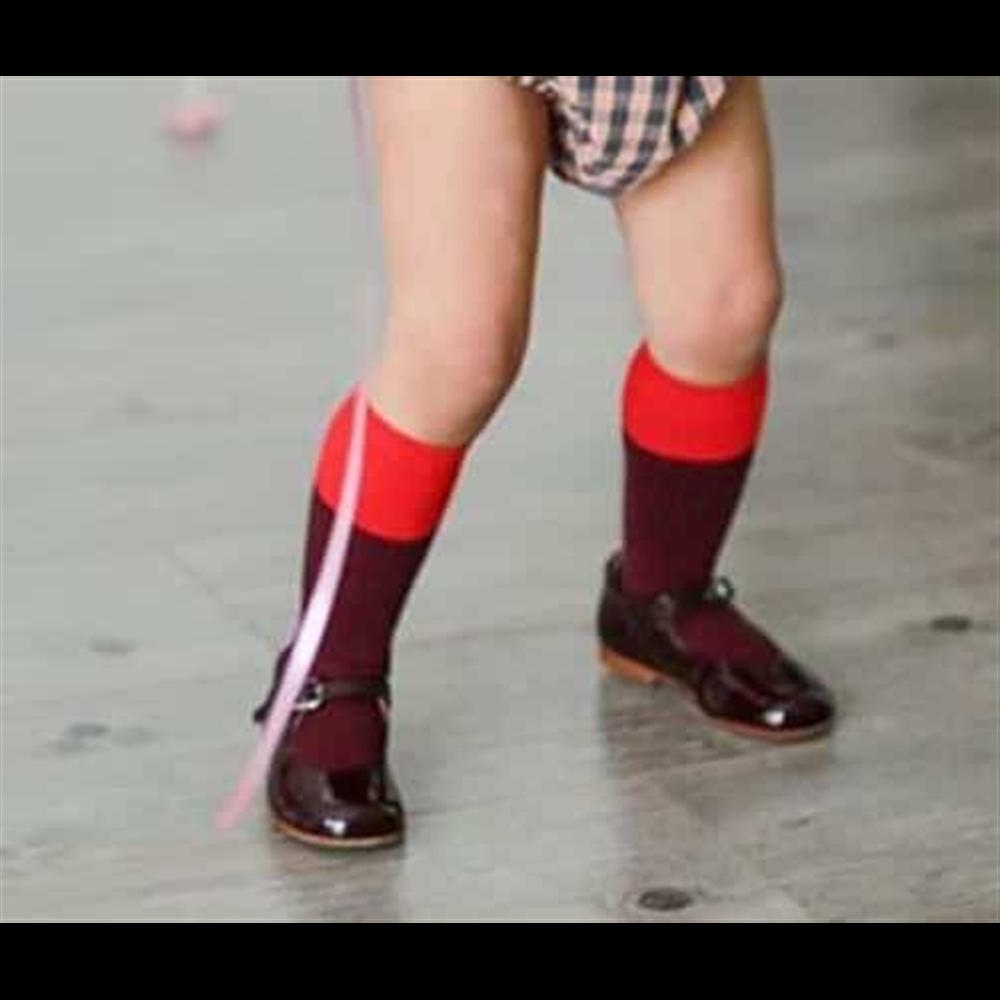 Izuzetne dokolenice za devojčice bordo boje sa crvenim gornjim delom
