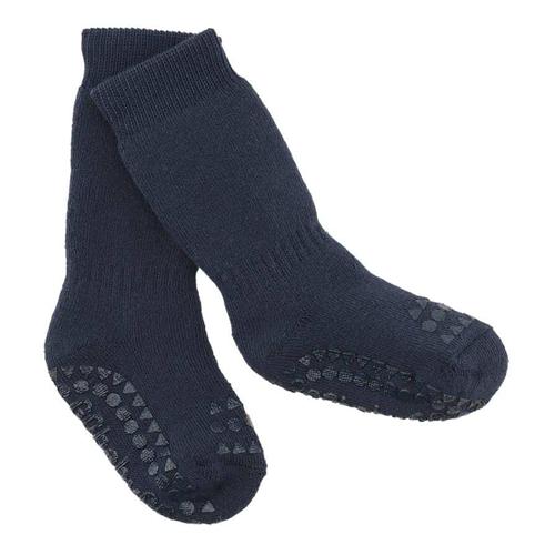 Čarapice za bebe i decu teget boje sa zaštitom na tabanima i prstićima