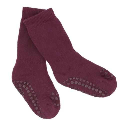 Čarapice za bebe i decu bordo boje sa zaštitom na tabanima i prstićima