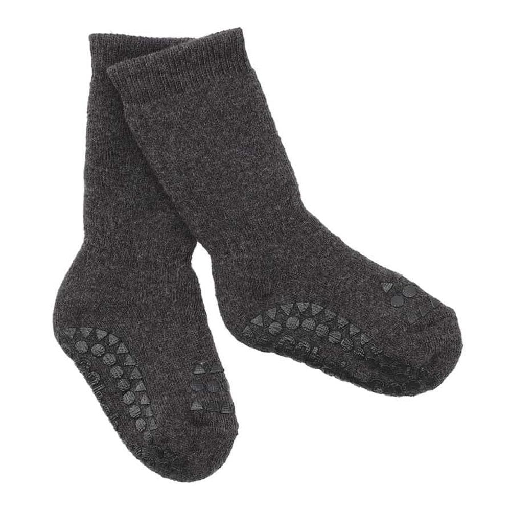Čarapice za bebe i decu tamno sive boje sa zaštitom na tabanima i prstićima