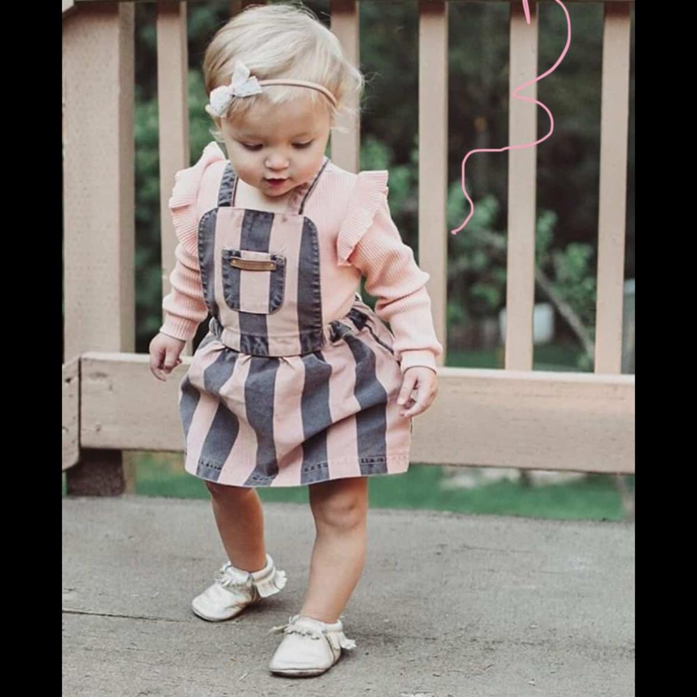 Haljinica od pamučnog kepera na sivo roze pruge za bebe
