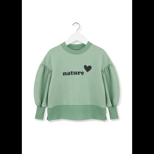 Duks za devojčice nežno zelene boje boje sa natpisom nature srce i puf rukav-NEMA NA STANJU!