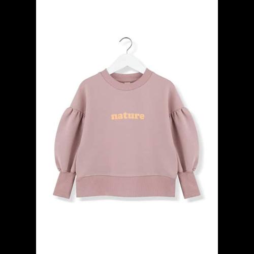 Duks za devojčice nežno roze boje boje sa natpisom nature i puf rukavima