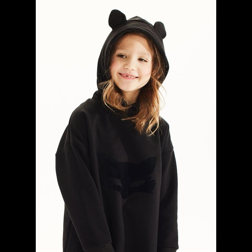 Crni duks haljina sa kapuljačom za devojčice