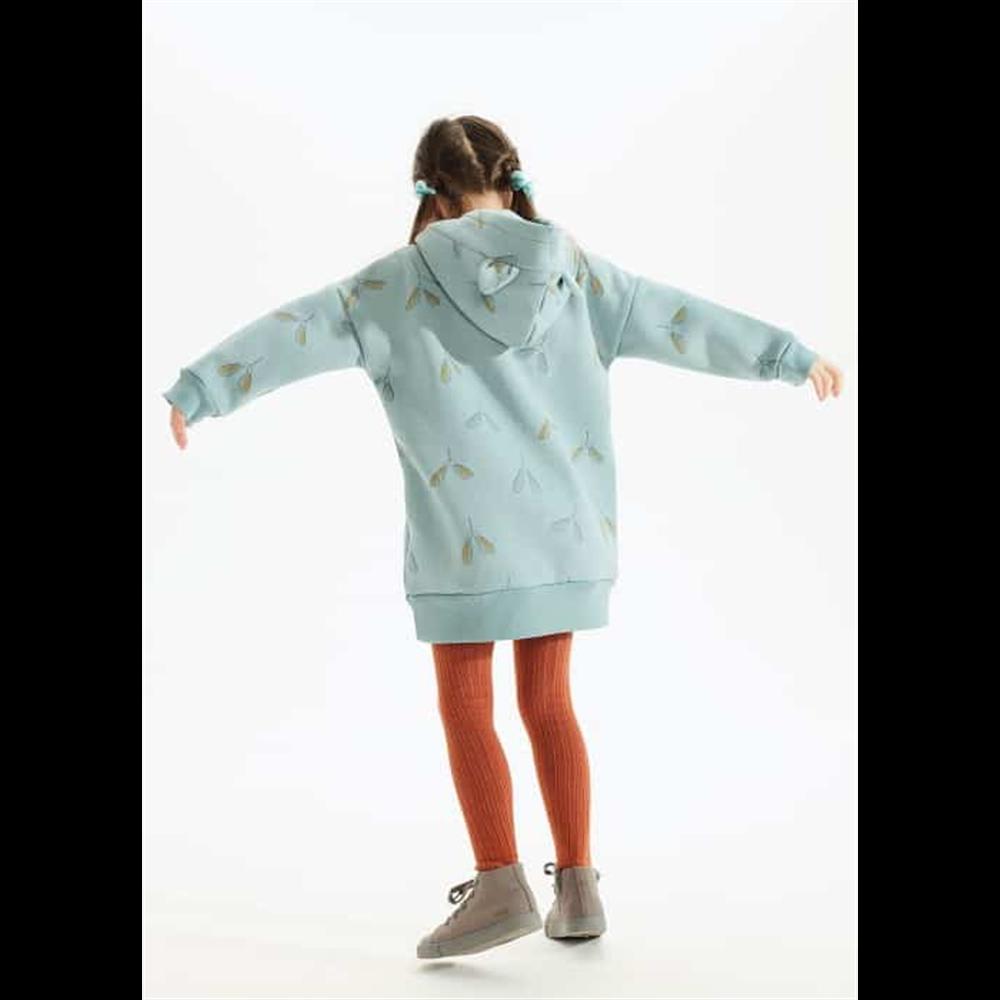 Duks haljina sa kapuljačom za devojčice nežno plave boje