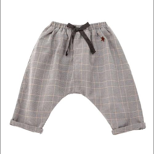 Pantalone za malu decu karirane sivo braon unisex