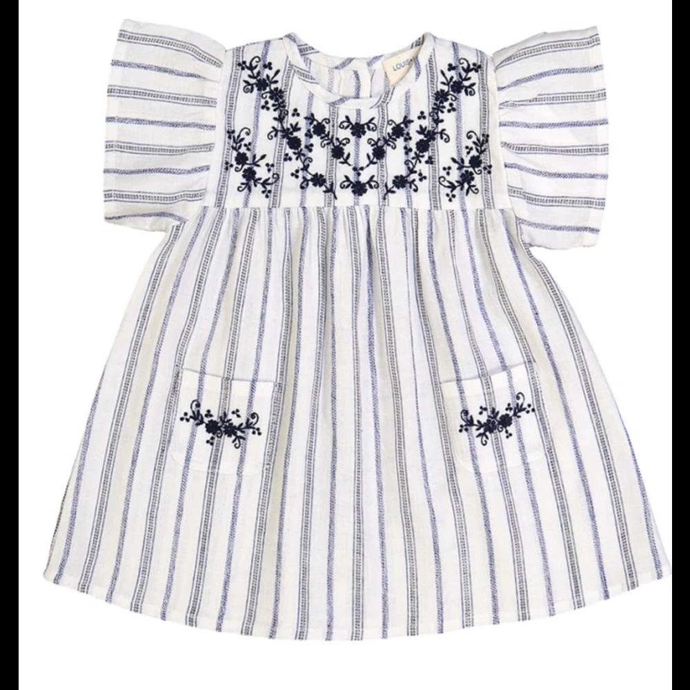 Belo / plave /srebrne /prugice - haljinica kratkih rukava sa vezom za leto