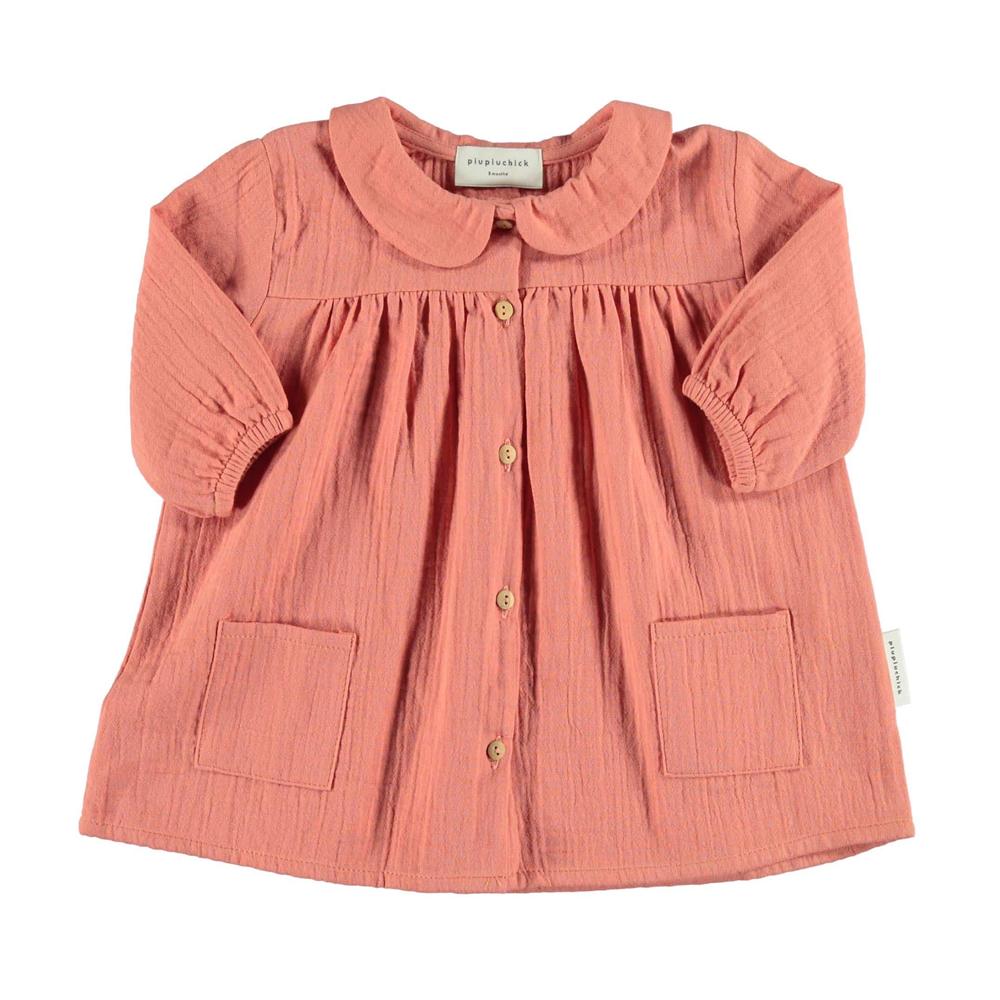 Mekana bebi haljinica od pamučne gaze koralne boje