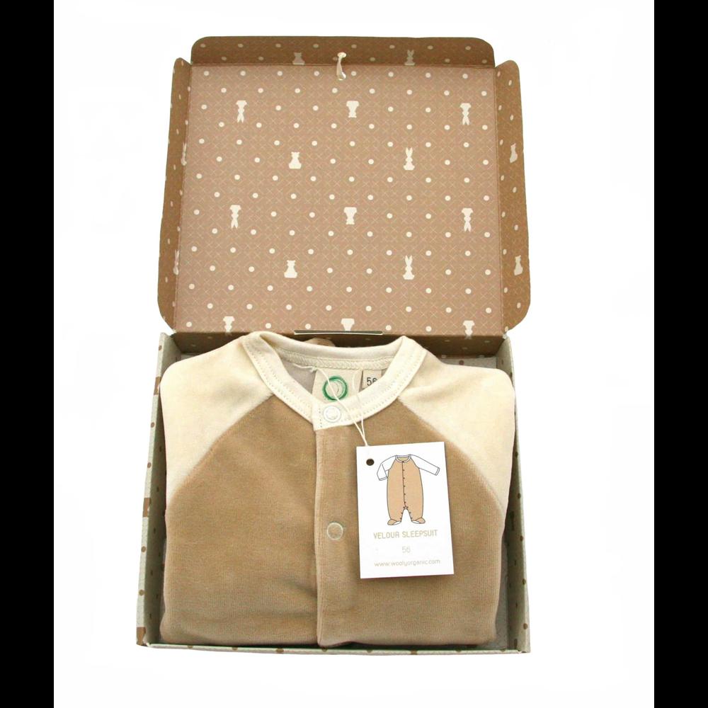 Udobne i tople pantalonice za bebe od organskog pamučnog velura krem boje