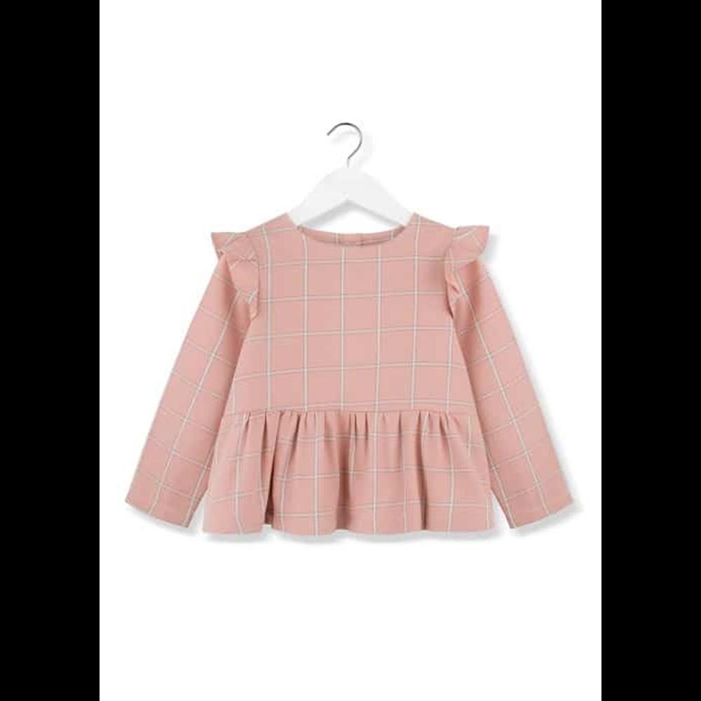 Roze karirana bluza pamučna  sa karnerima
