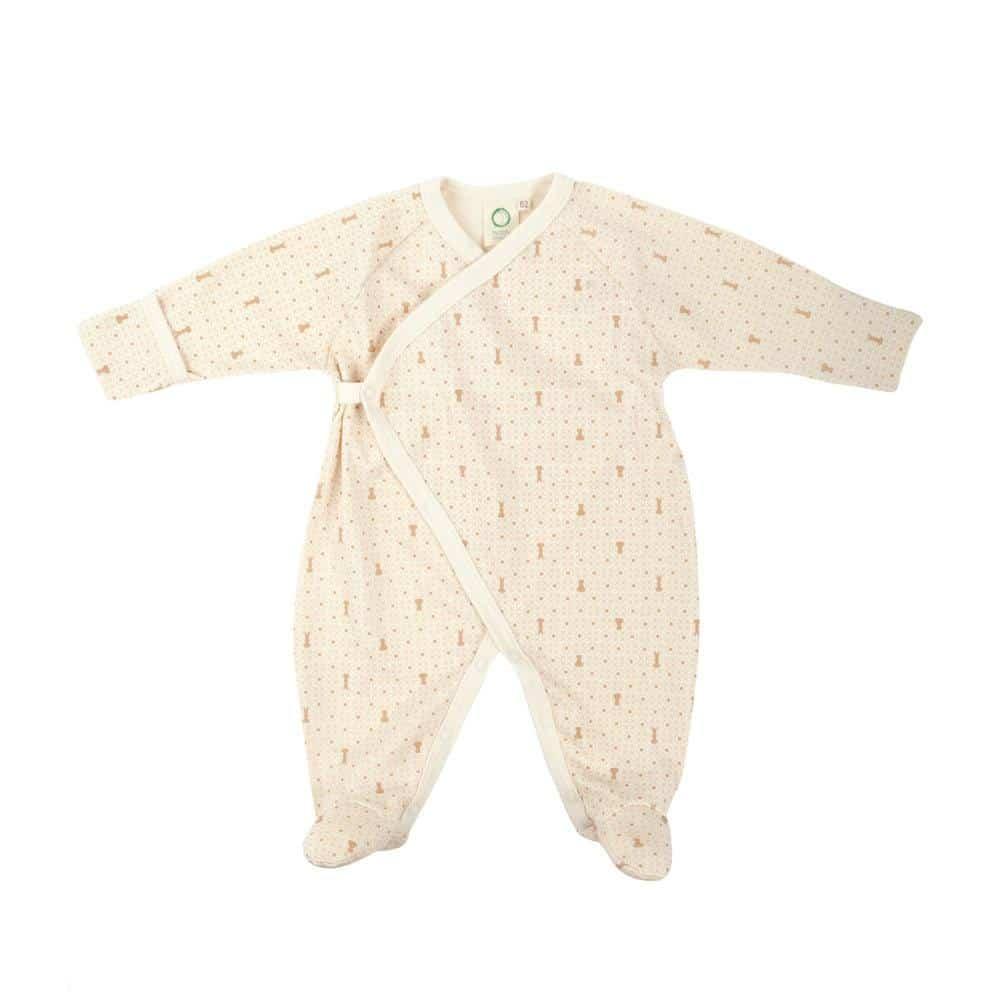 Pidžama od organskog pamuka krem boje sa stopalima