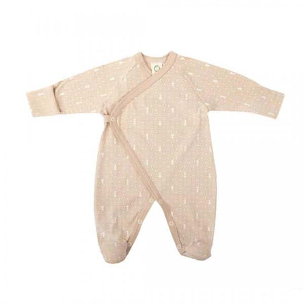 Pidžama od organskog pamuka braon boje sa stopalima