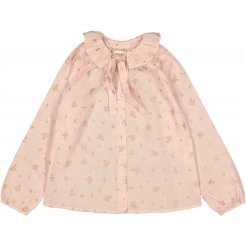 Bluzica romantična roze sa motivom cvetića zlatne boje