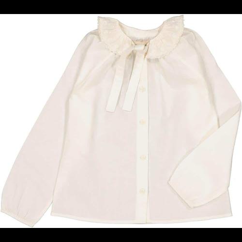 Bela romantična bluzica sa kragnicom od belog veza