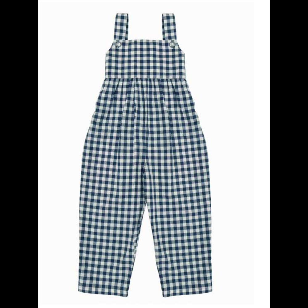 Pantalone na tregere za devojčice retro izgleda za leto dezen belo plave kockice