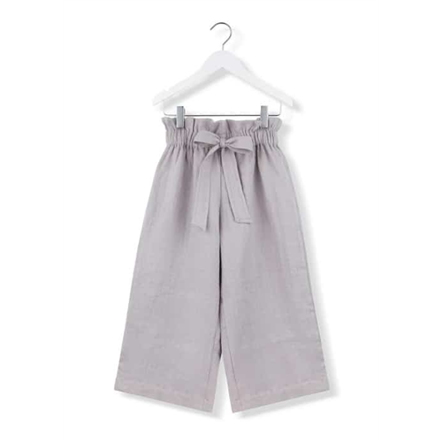 Široke udobne pantalone od lana sive boje za devojčice