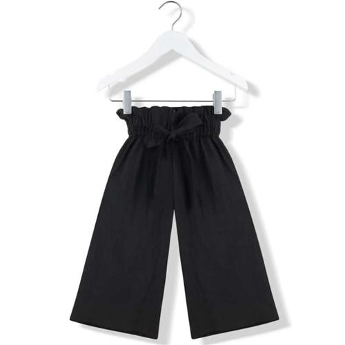 Široke udobne pantalone od lana crne boje za devojčice