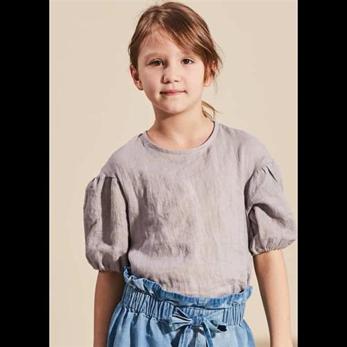 Prelepa bluzica od lana sive boje sa kratkim puf rukavima za devojčice