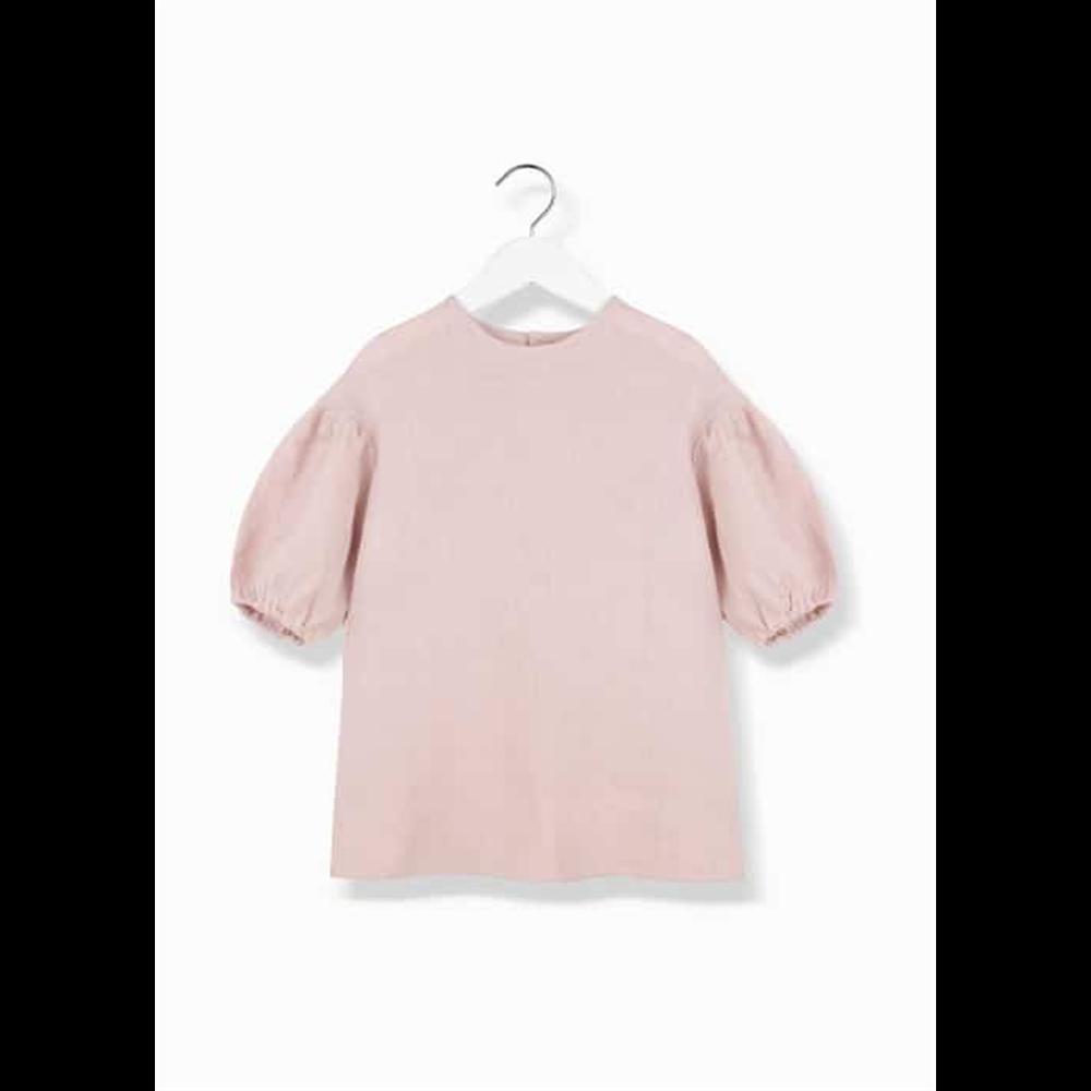 Prelepa bluza od lana roze boje sa kratkim puf rukavima za devojčice