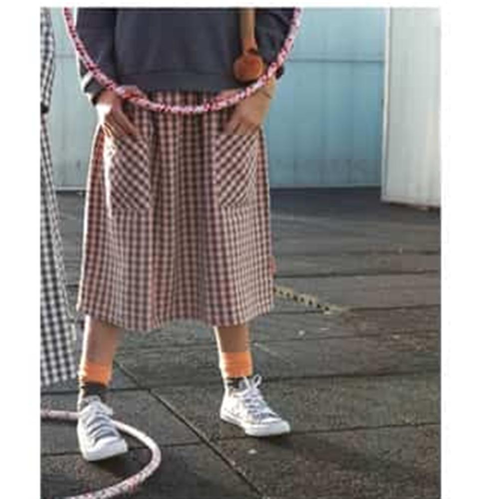 Dugačka pamučna suknja na sivo roze kockice
